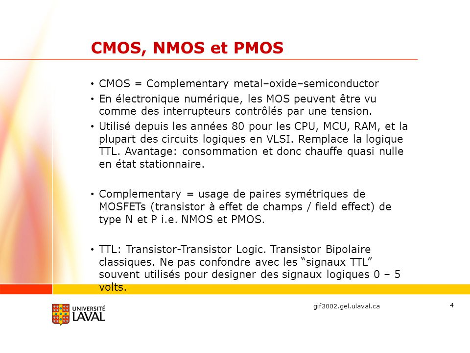 CMOS, NMOS et PMOS CMOS = Complementary metal–oxide–semiconductor