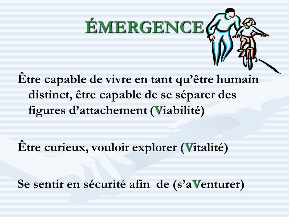 ÉMERGENCE Être capable de vivre en tant qu'être humain distinct, être capable de se séparer des figures d'attachement (Viabilité)