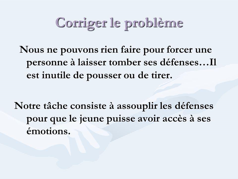 Corriger le problème Nous ne pouvons rien faire pour forcer une personne à laisser tomber ses défenses…Il est inutile de pousser ou de tirer.