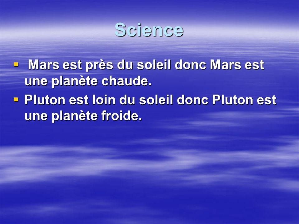 Science Mars est près du soleil donc Mars est une planète chaude.