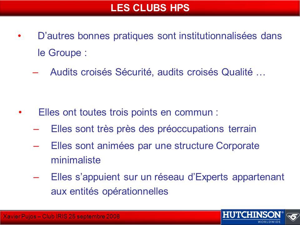 LES CLUBS HPS D'autres bonnes pratiques sont institutionnalisées dans le Groupe : Audits croisés Sécurité, audits croisés Qualité …