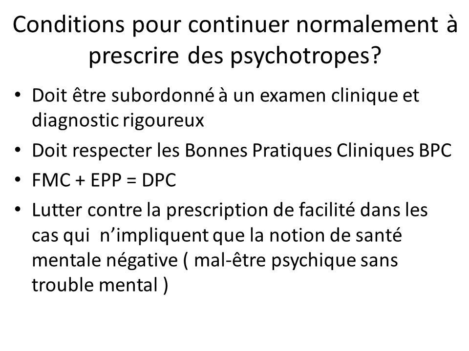 Conditions pour continuer normalement à prescrire des psychotropes