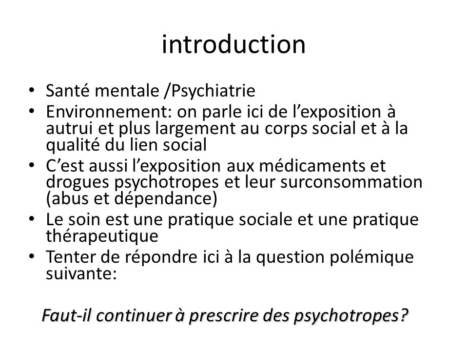 introduction Santé mentale /Psychiatrie
