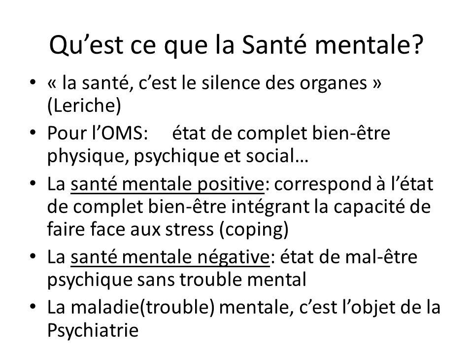 Qu'est ce que la Santé mentale