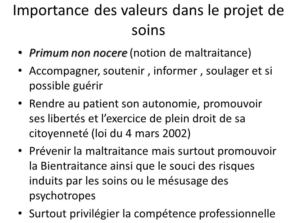 Importance des valeurs dans le projet de soins