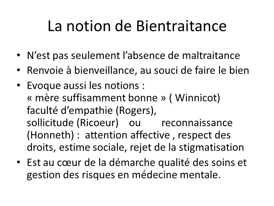 La notion de Bientraitance