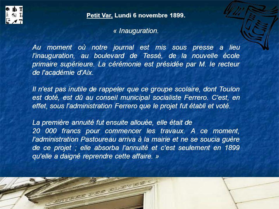 Petit Var, Lundi 6 novembre 1899.
