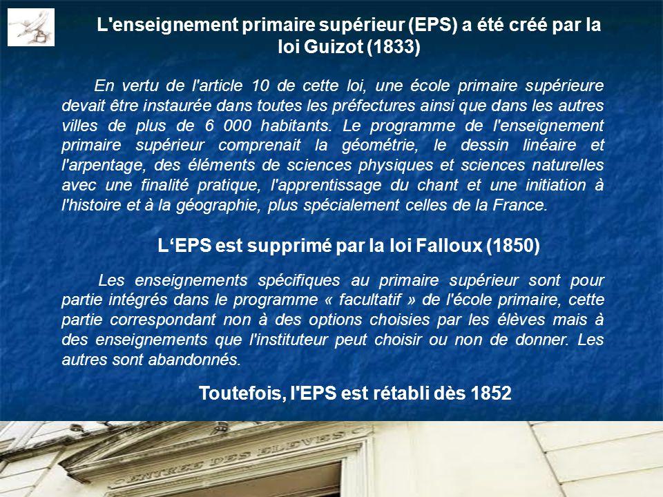 L enseignement primaire supérieur (EPS) a été créé par la