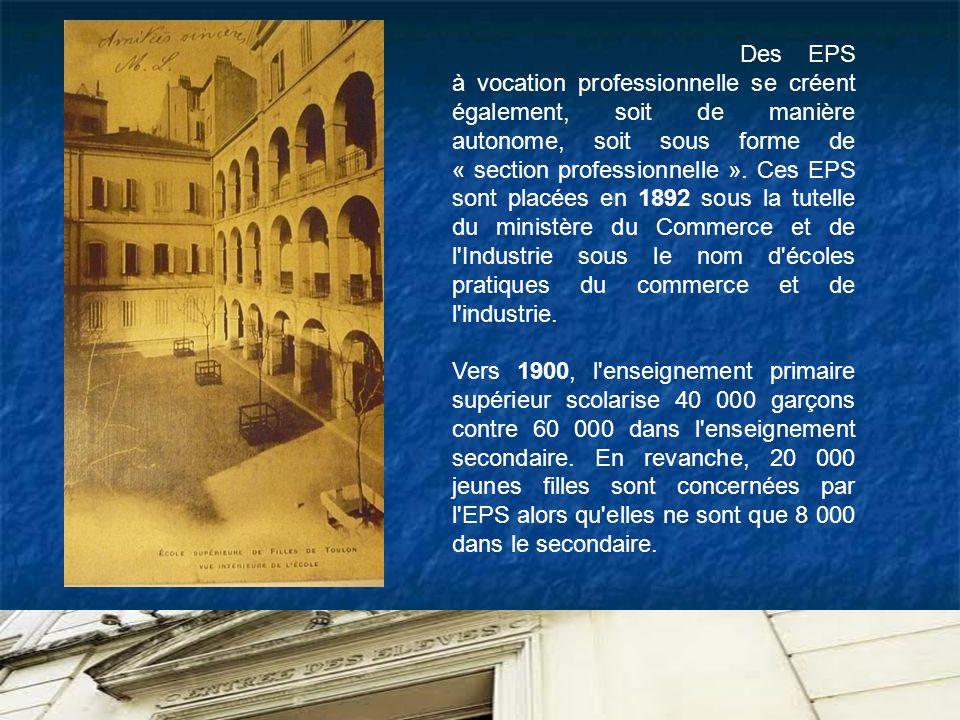 Des EPS à vocation professionnelle se créent également, soit de manière autonome, soit sous forme de « section professionnelle ». Ces EPS sont placées en 1892 sous la tutelle du ministère du Commerce et de l Industrie sous le nom d écoles pratiques du commerce et de l industrie.