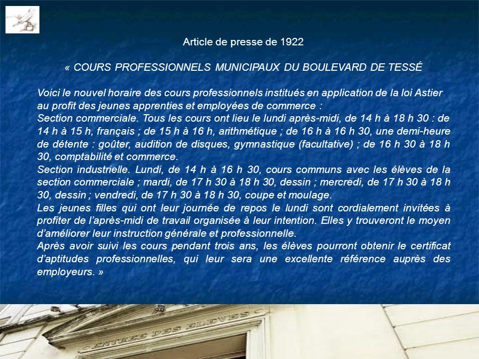 « COURS PROFESSIONNELS MUNICIPAUX DU BOULEVARD DE TESSÉ