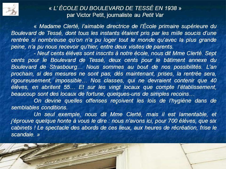 « L' ÉCOLE DU BOULEVARD DE TESSÉ EN 1938 »