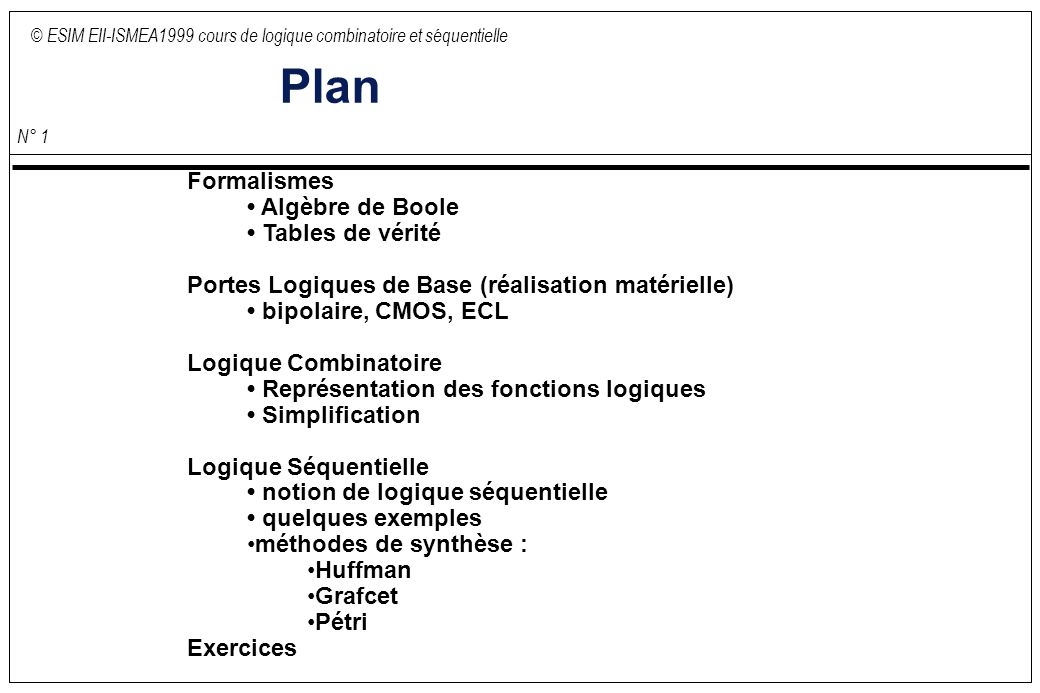 Plan formalismes alg bre de boole tables de v rit - Table de verite multiplexeur 2 vers 1 ...