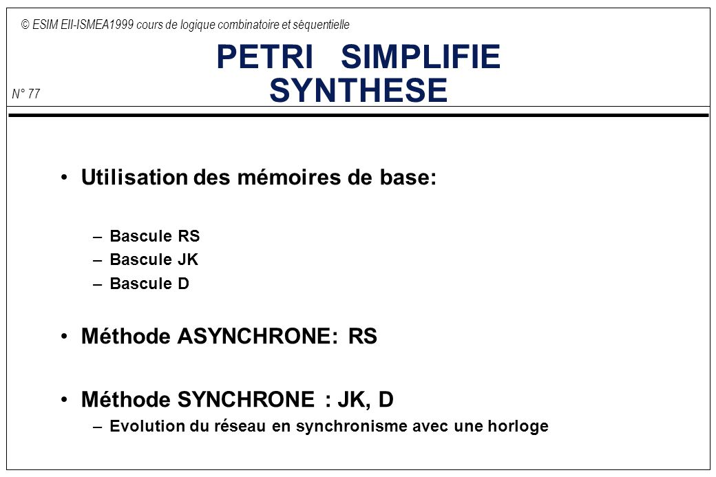PETRI SIMPLIFIE SYNTHESE
