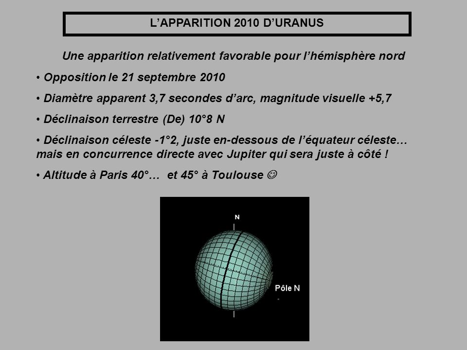L'APPARITION 2010 D'URANUS