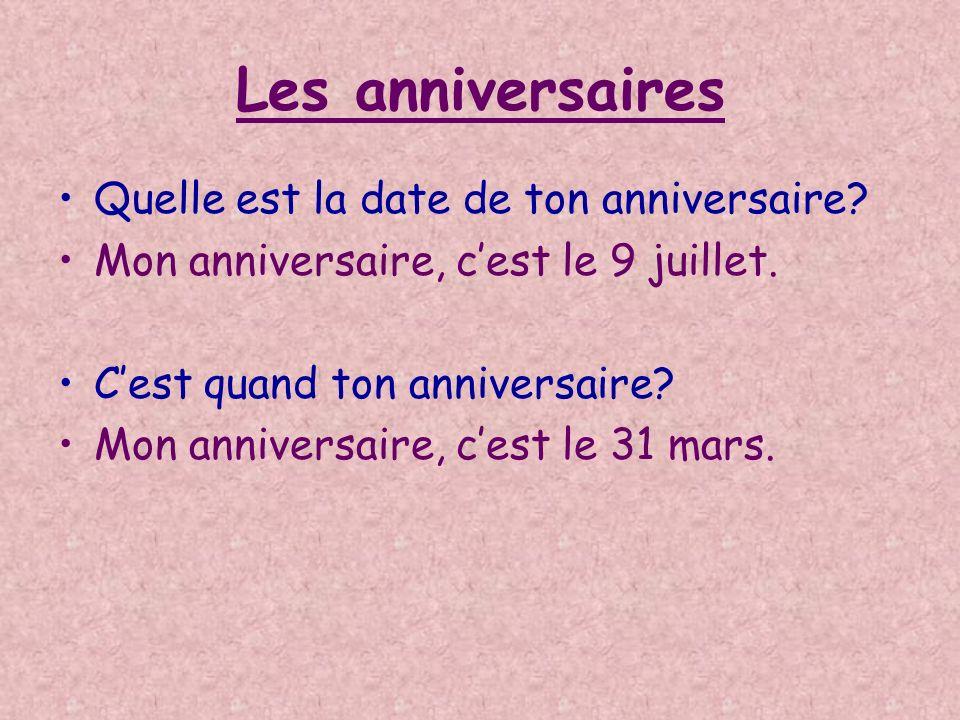 Les anniversaires Quelle est la date de ton anniversaire