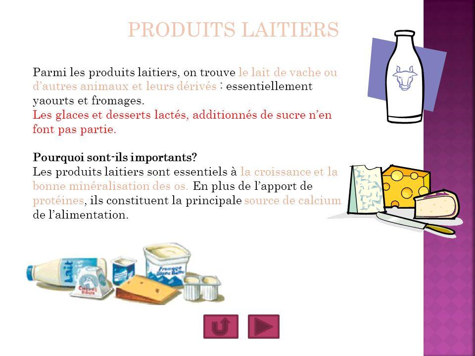 PRODUITS LAITIERS Parmi les produits laitiers, on trouve le lait de vache ou d'autres animaux et leurs dérivés : essentiellement yaourts et fromages.