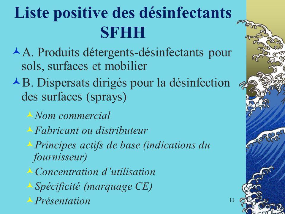 Liste positive des désinfectants SFHH