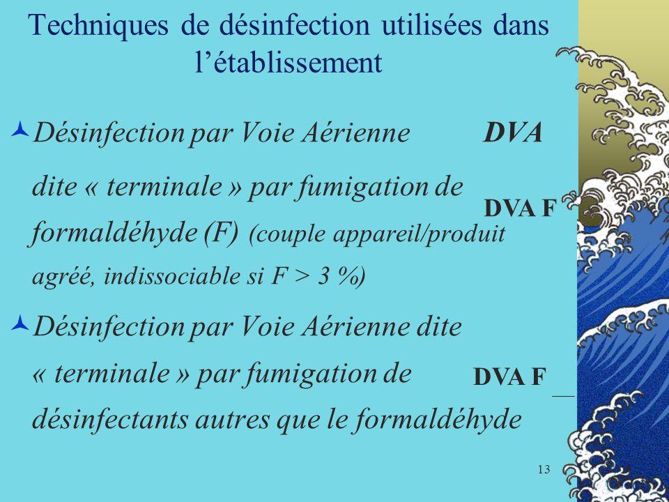 Techniques de désinfection utilisées dans l'établissement