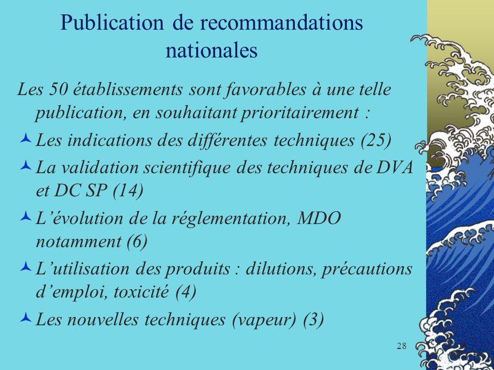 Publication de recommandations nationales