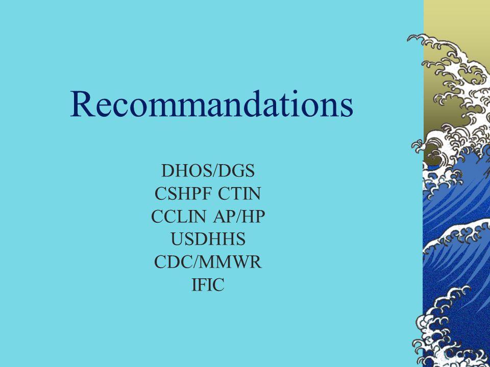 DHOS/DGS CSHPF CTIN CCLIN AP/HP USDHHS CDC/MMWR IFIC