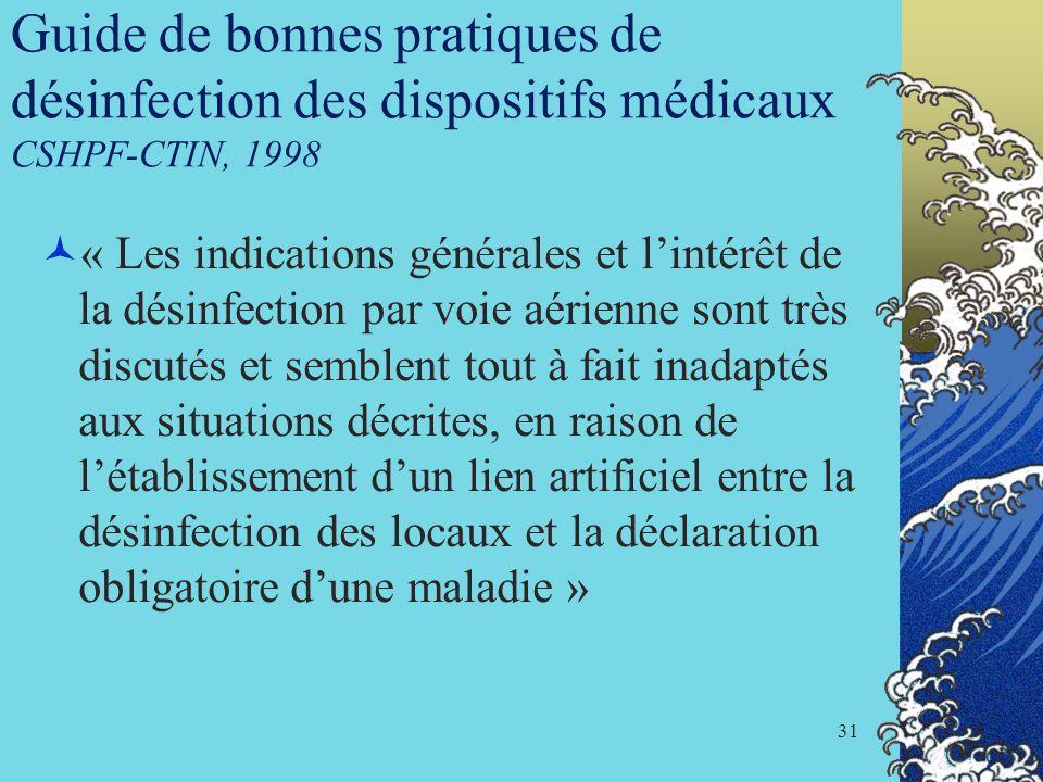 Guide de bonnes pratiques de désinfection des dispositifs médicaux CSHPF-CTIN, 1998