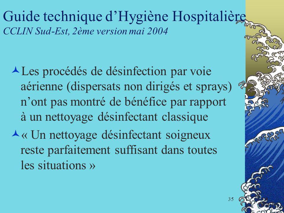 Guide technique d'Hygiène Hospitalière CCLIN Sud-Est, 2ème version mai 2004