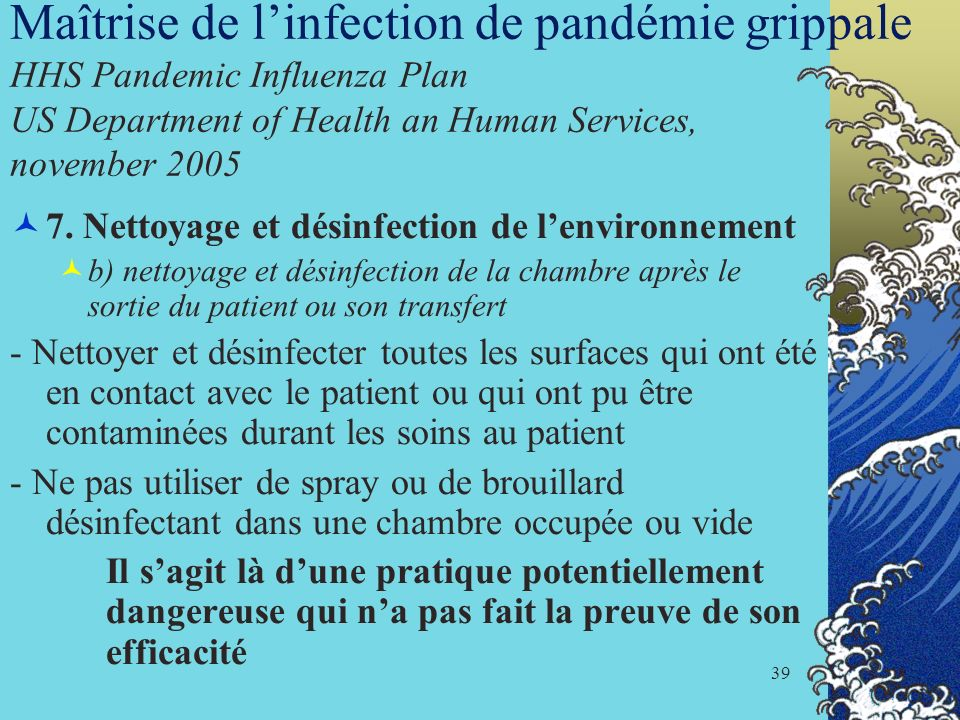 Maîtrise de l'infection de pandémie grippale HHS Pandemic Influenza Plan US Department of Health an Human Services, november 2005
