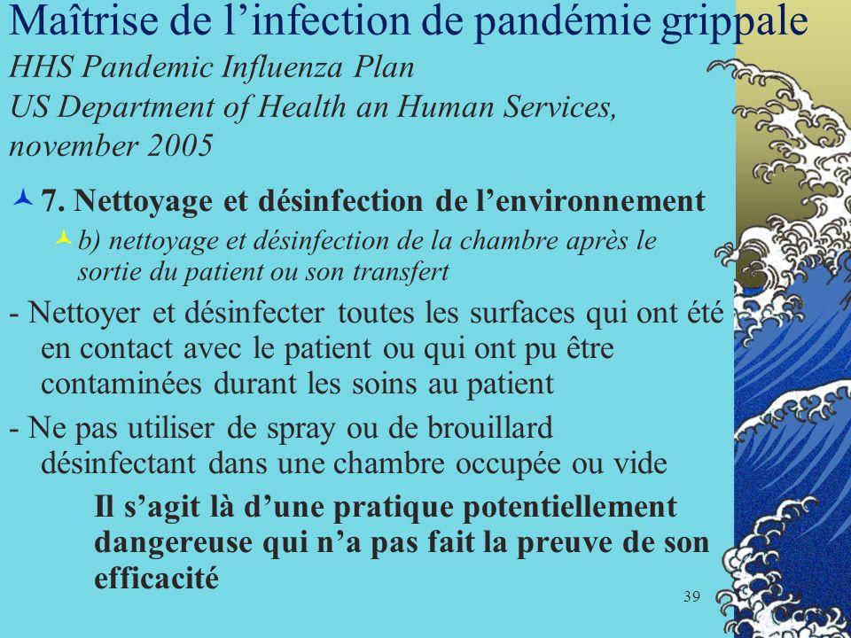 Maîtrise de l'infection de pandémie grippale HHS Pandemic Influenza Plan US Department of Health an Human Services, november 2005
