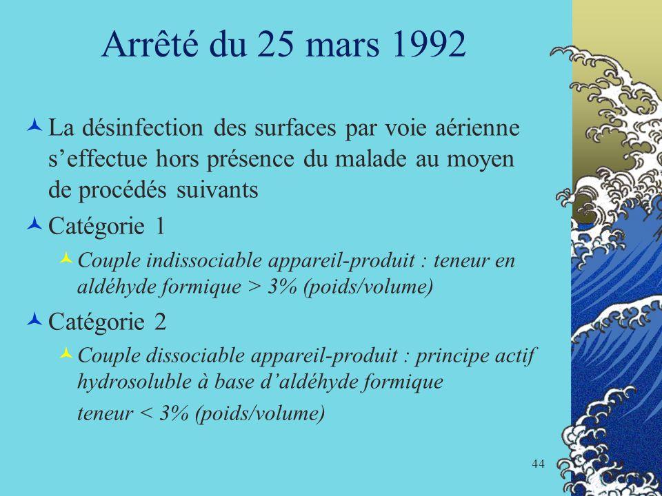 Arrêté du 25 mars 1992La désinfection des surfaces par voie aérienne s'effectue hors présence du malade au moyen de procédés suivants.