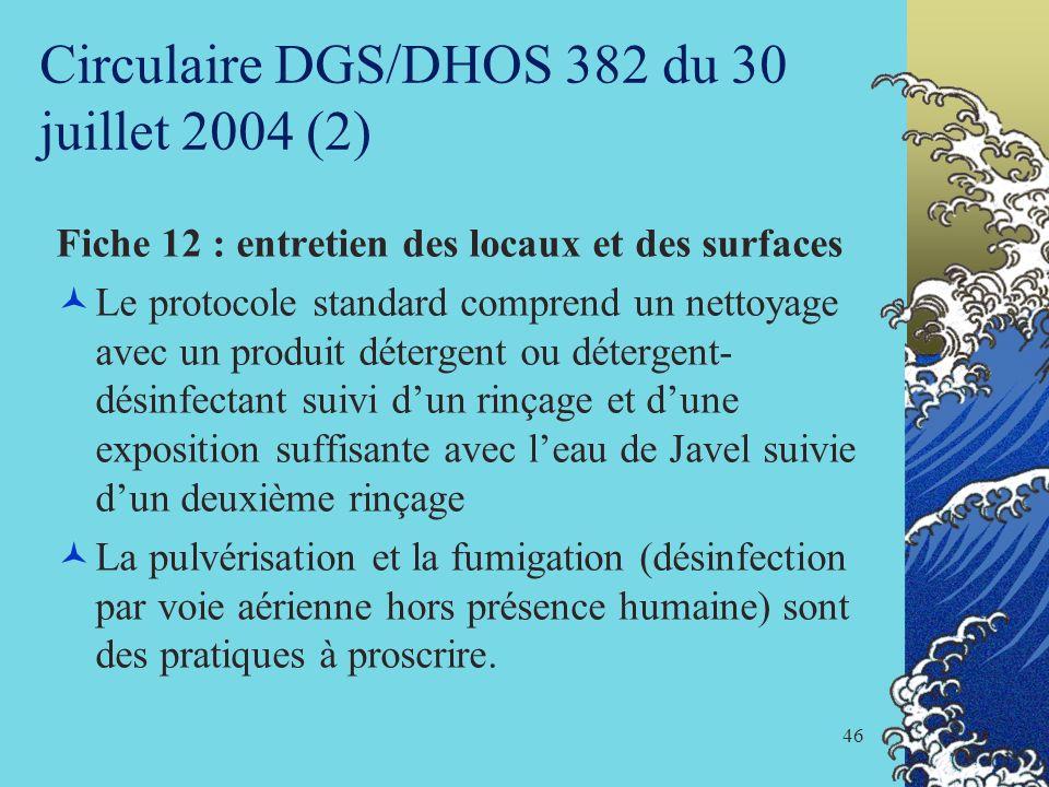 Circulaire DGS/DHOS 382 du 30 juillet 2004 (2)
