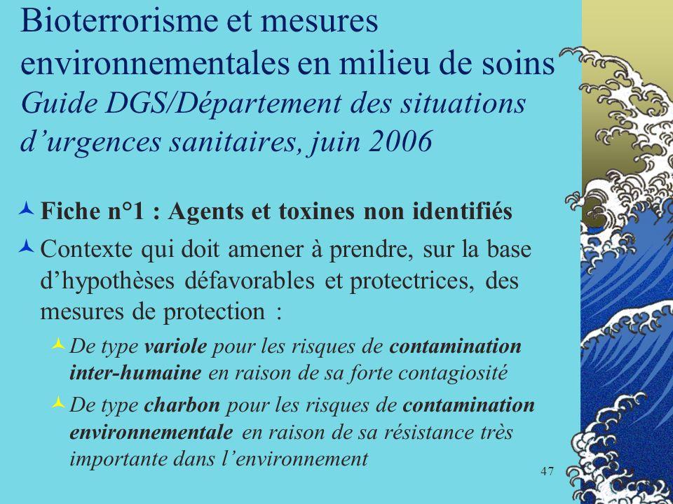 Bioterrorisme et mesures environnementales en milieu de soins Guide DGS/Département des situations d'urgences sanitaires, juin 2006