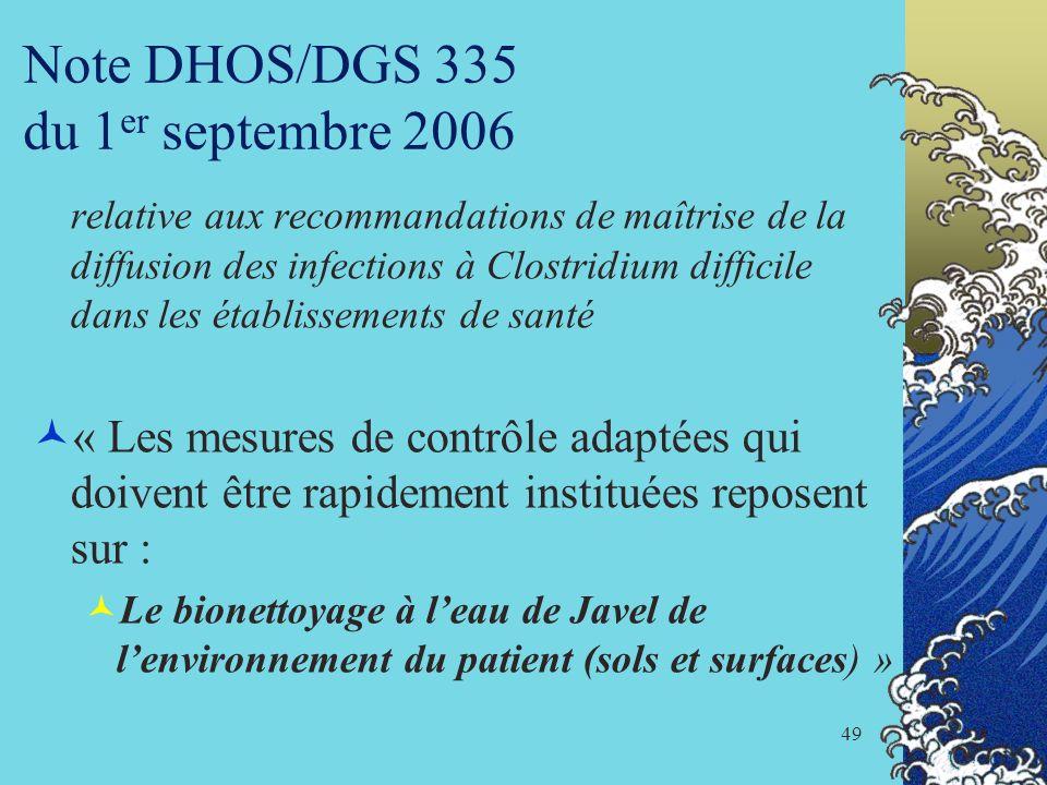 Note DHOS/DGS 335 du 1er septembre 2006