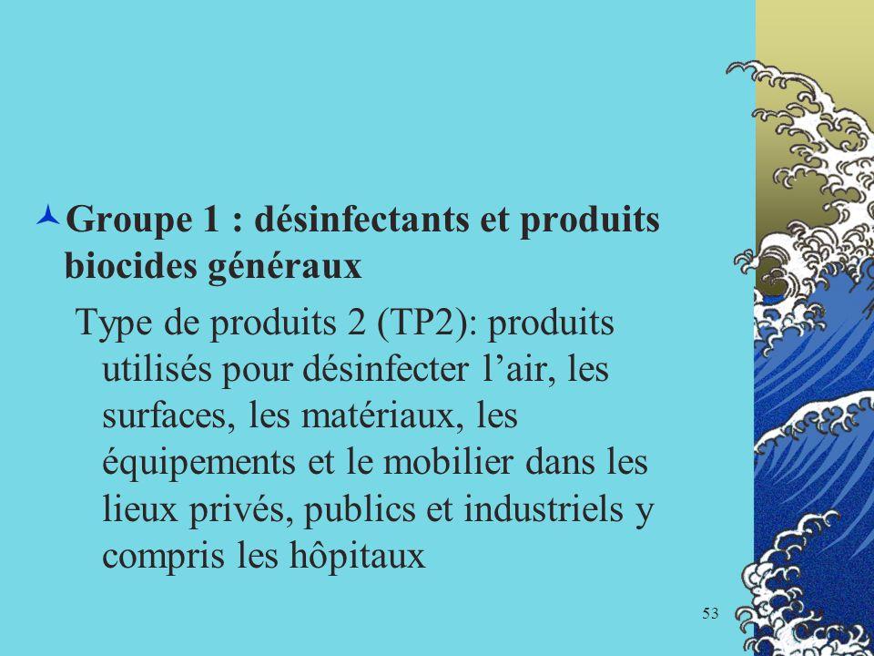 Groupe 1 : désinfectants et produits biocides généraux