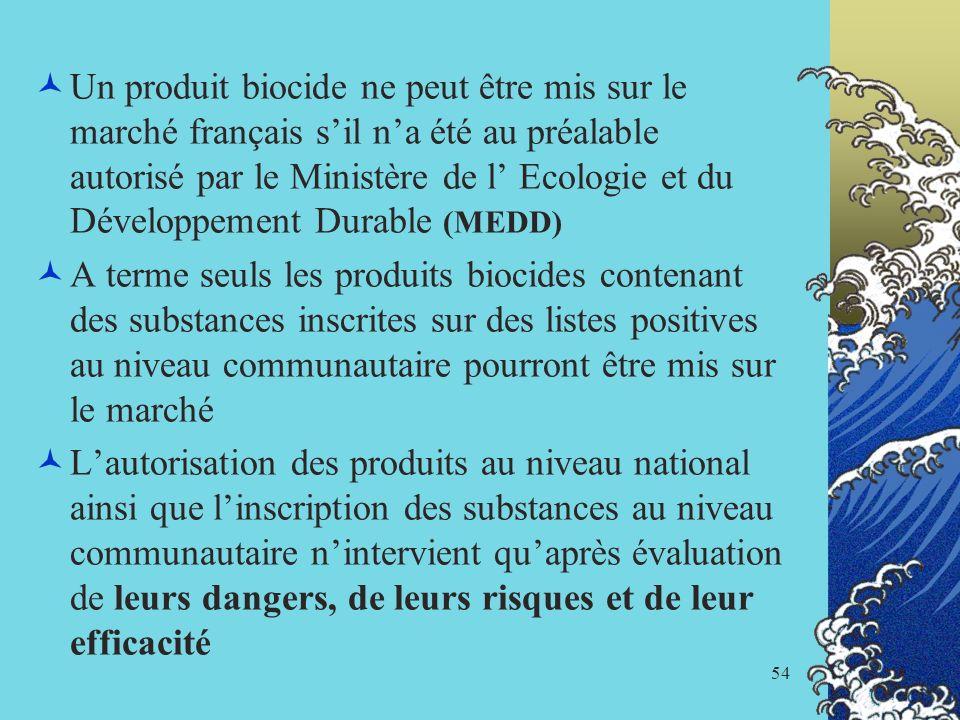 Un produit biocide ne peut être mis sur le marché français s'il n'a été au préalable autorisé par le Ministère de l' Ecologie et du Développement Durable (MEDD)