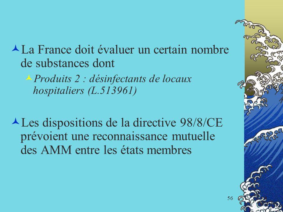 La France doit évaluer un certain nombre de substances dont