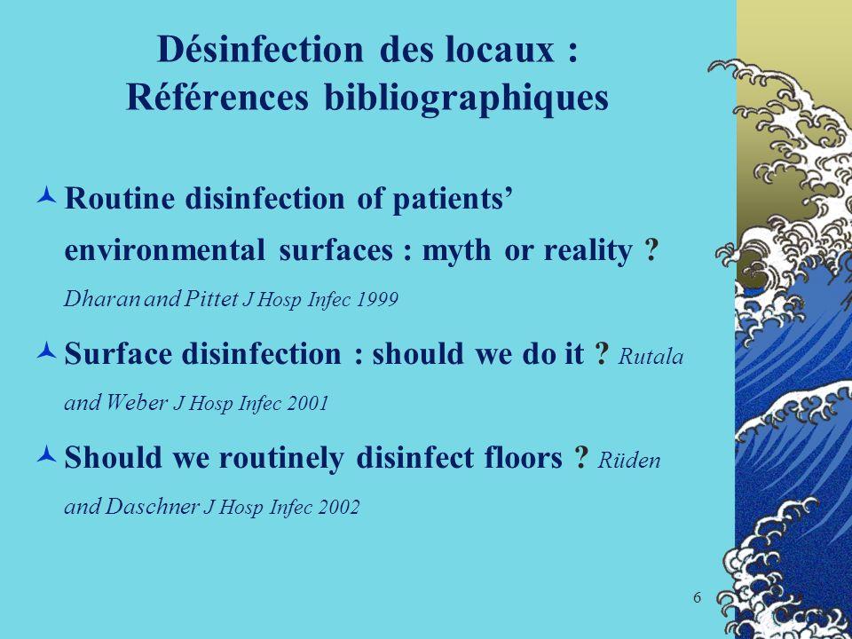 Désinfection des locaux : Références bibliographiques