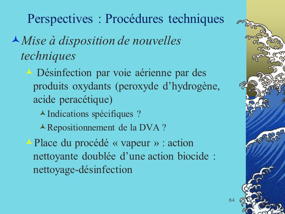Perspectives : Procédures techniques