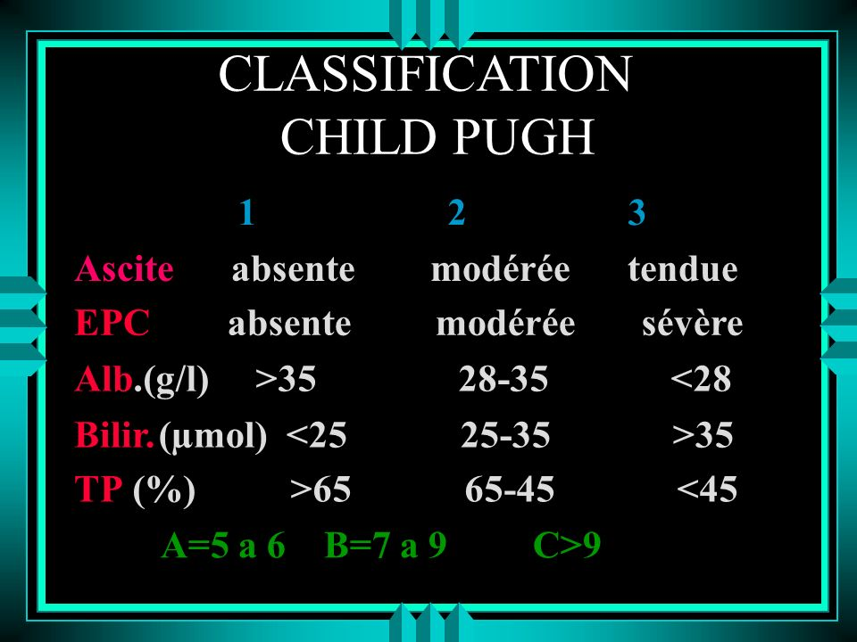 CLASSIFICATION CHILD PUGH 1 2 3 Ascite absente modérée tendue EPC