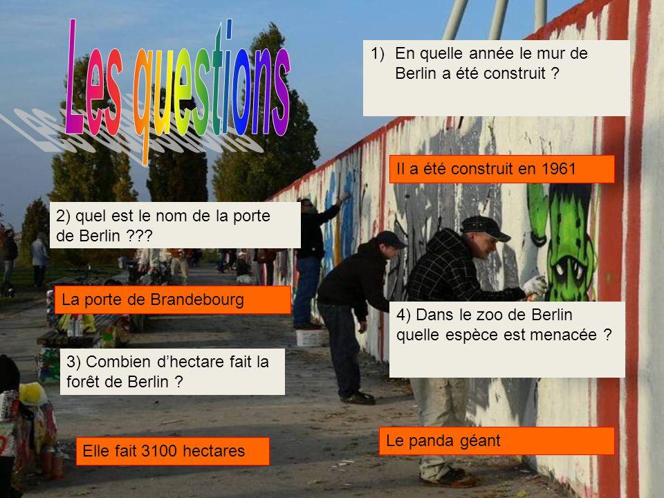 Les questions En quelle année le mur de Berlin a été construit