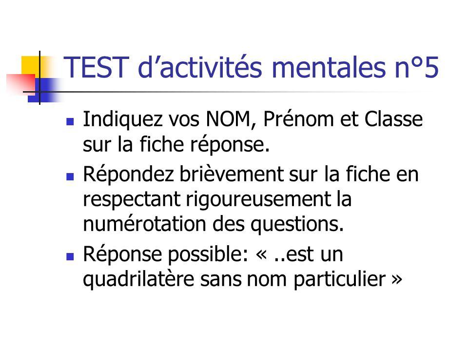 TEST d'activités mentales n°5
