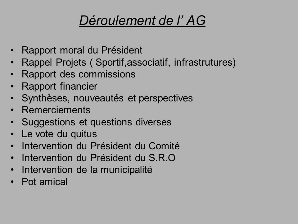 Déroulement de l' AG Rapport moral du Président