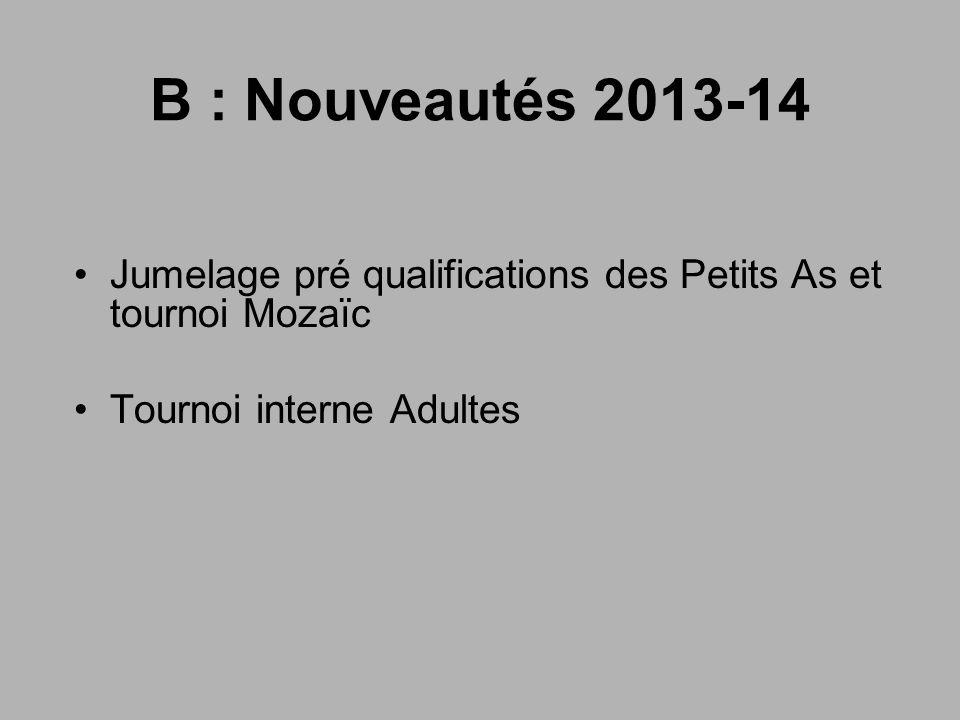 B : Nouveautés 2013-14 Jumelage pré qualifications des Petits As et tournoi Mozaïc.