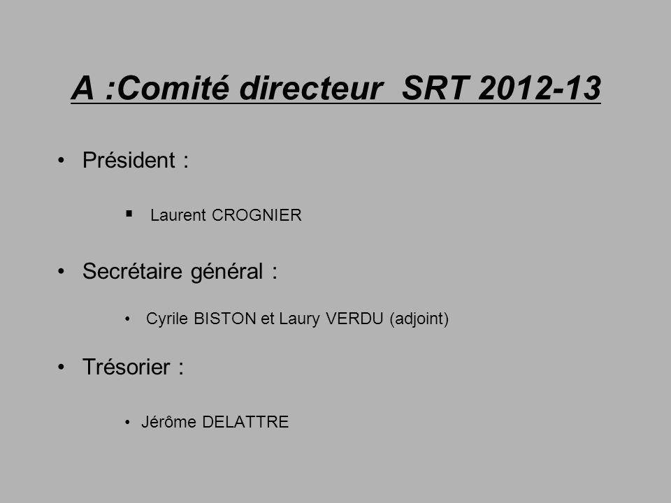 A :Comité directeur SRT 2012-13
