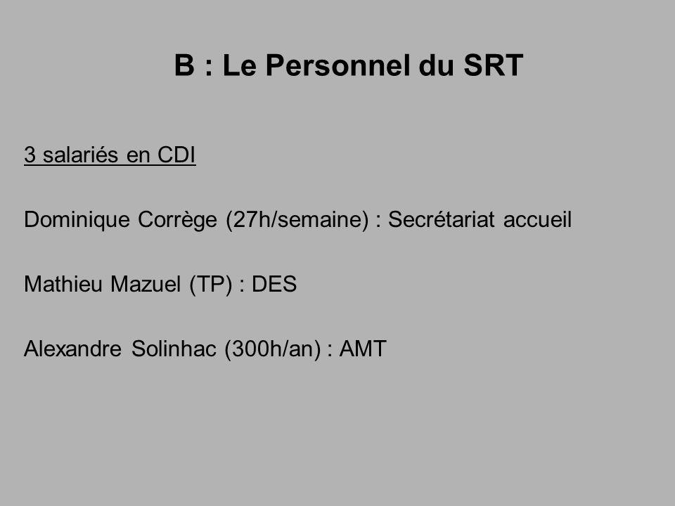 B : Le Personnel du SRT 3 salariés en CDI
