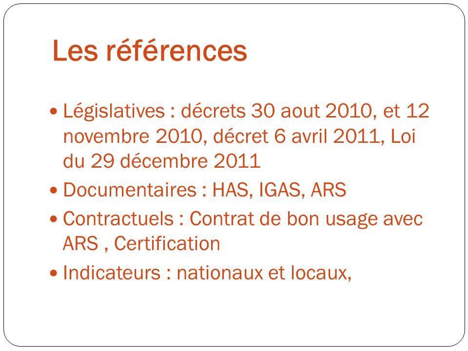 Les référencesLégislatives : décrets 30 aout 2010, et 12 novembre 2010, décret 6 avril 2011, Loi du 29 décembre 2011.