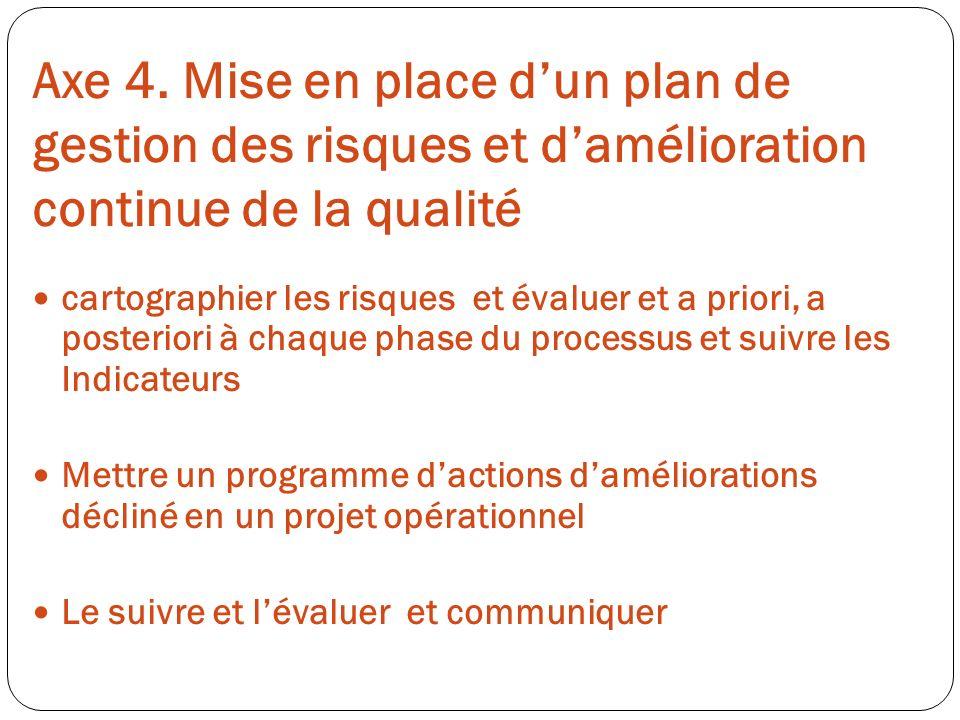 Axe 4. Mise en place d'un plan de gestion des risques et d'amélioration continue de la qualité