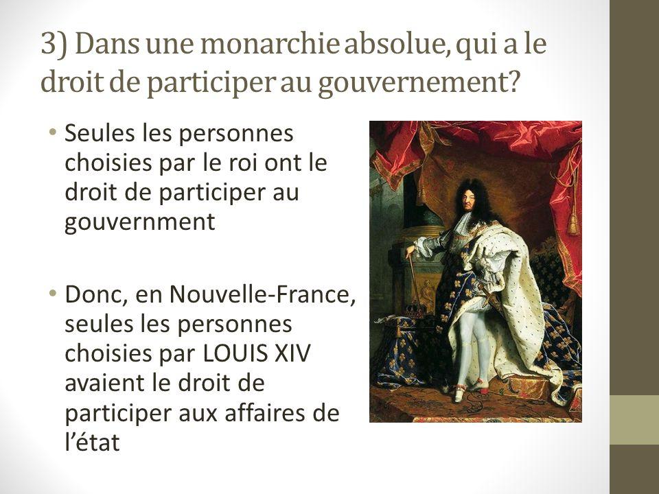3) Dans une monarchie absolue, qui a le droit de participer au gouvernement