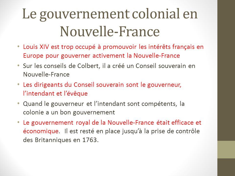 Le gouvernement colonial en Nouvelle-France