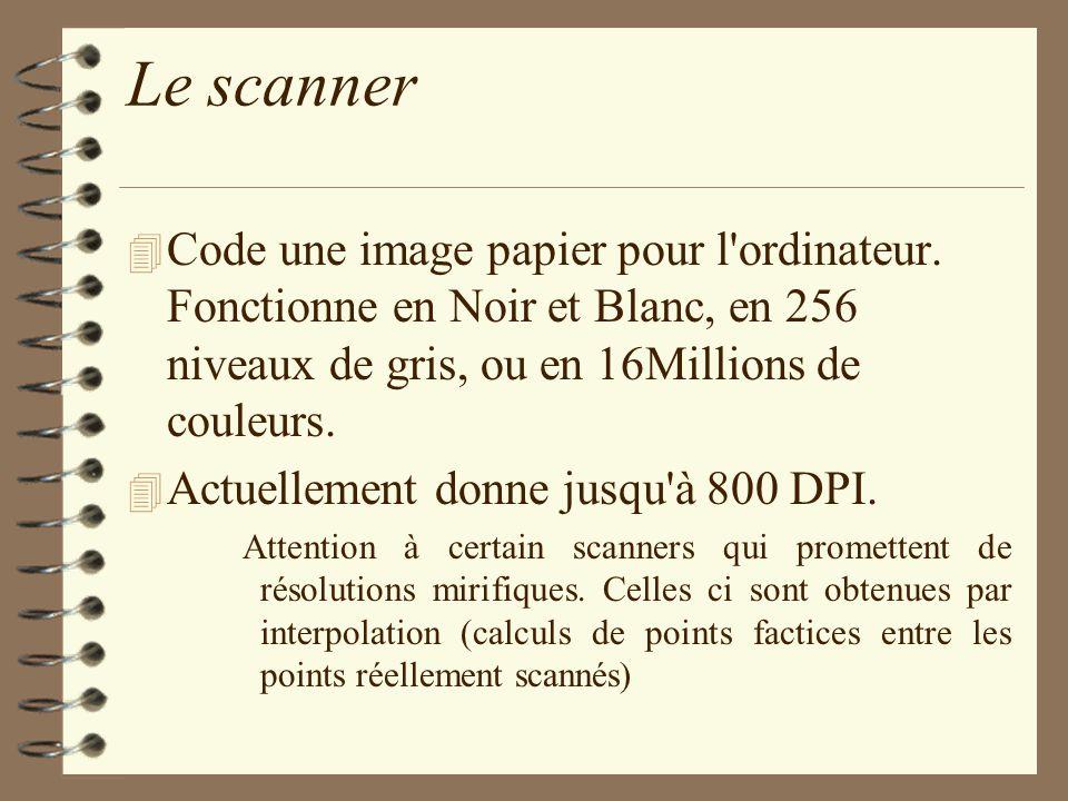 Le scanner Code une image papier pour l ordinateur. Fonctionne en Noir et Blanc, en 256 niveaux de gris, ou en 16Millions de couleurs.