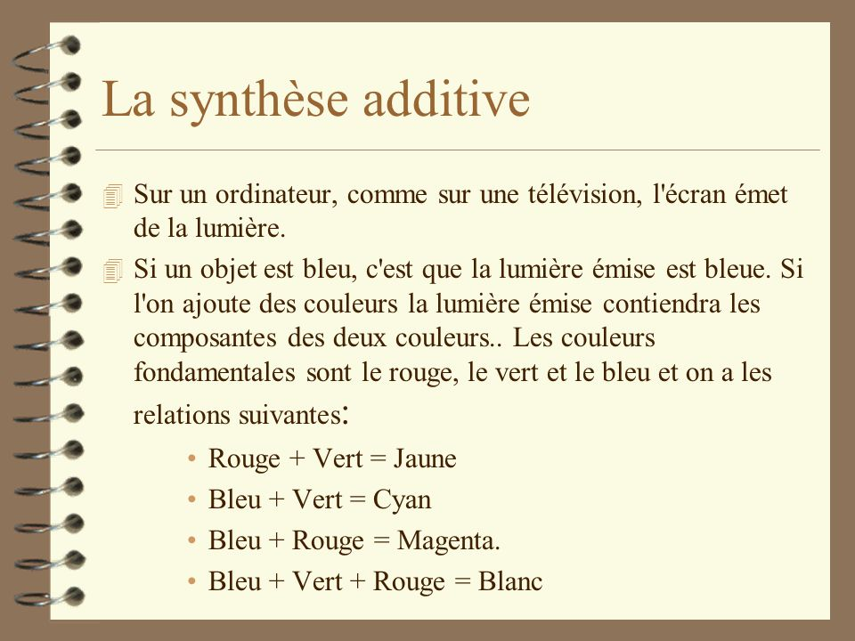 La synthèse additive Sur un ordinateur, comme sur une télévision, l écran émet de la lumière.